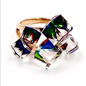 Noble colorful square crystal ring